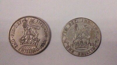Silver One Shilling Coins x2 - 1923 and 1933 FINE