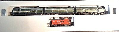 Marklin Z Mini Club 88321 F7 A/B/A Diesel PRR Railroad Locomotive Set w/ Caboose