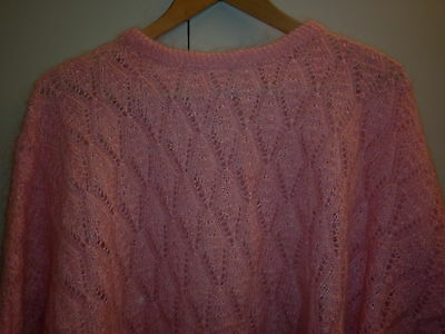 VINTAGE 1980s LARGE HAND KNIT PINK MOHAIR JUMPER EXCELLENT CONDITION
