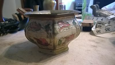 Beautiful Vintage Painted Brass Vase Bowl. 3 inches high and 5 inches diameter