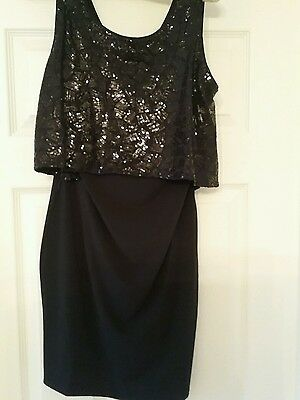 Size 10 Double layered Sequin Tunic Dress BNWT Black party/xmas