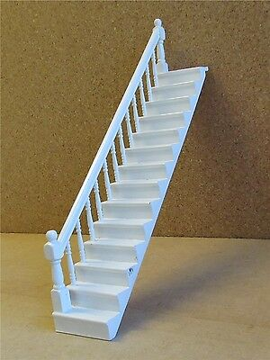 Dolls house white wooden staircase 1/12th scale