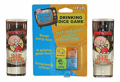 Family Guy Drinking Dice Game with 2 Stewie Shooters - New