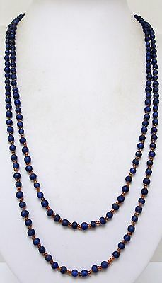 Gorgeous vintage Deco very long sapphire & amber glass bead necklace