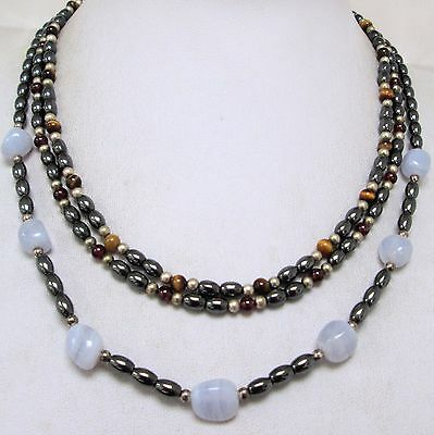 Good vintage haematite & agate bead necklace (sterling silver clasp) + 2
