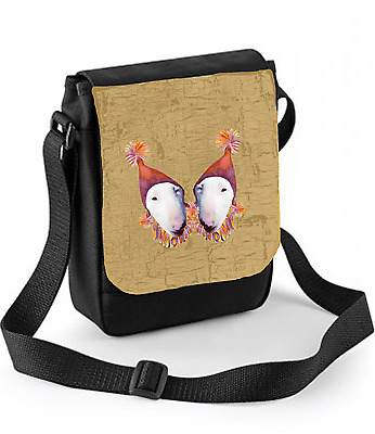 English Bull Terrier Dog Bag Shoulder Bags Dogs in Party Hats takes Ipad Mini