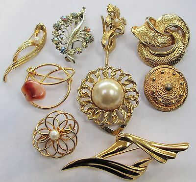 Seven vintage gold metal brooches + 2 scarf clips (pearl, a.b crystal)