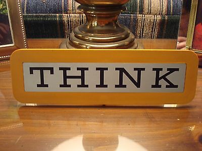 Vintage IBM THINK Computer Desk Sign with stand Collectible Exec Student Orange