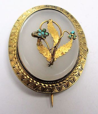 Fine large Victorian gilded silver, chalcedony & turquoise forget-me-not brooch