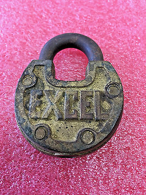 F7 Vintage RARE Excel padlock brass lock no key COOL LOOK antique