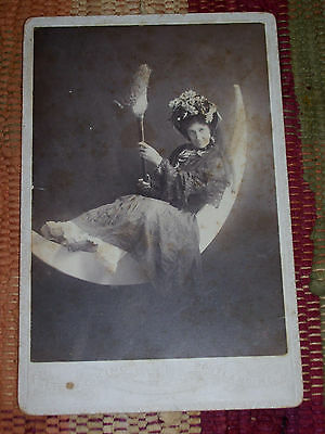 Antique Cabinet Photo Halloween Witch Broom/Boots & Crescent Moon Portland,Maine