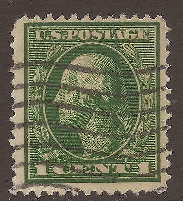 USA. PLATE FLAW. 1c GREEN. SOLID GREEN PATCH OF HAIR. USED