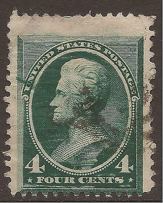 """USA. PLATE FLAW. 4c GREEN. LINE THROUGH """"U""""AND LEFT FRAME. USED."""
