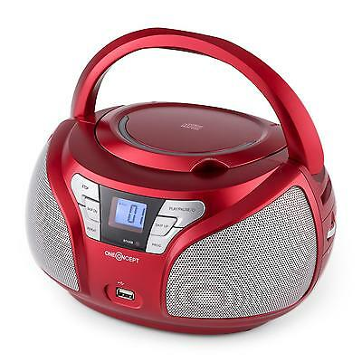 Poste radio lecteur CD boombox portable compact bluetooth LCD AUX MP3 rouge