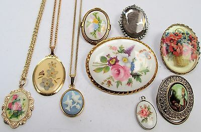 Lot vintage cameo & ceramic flower picture brooches, scarf clips & pendants