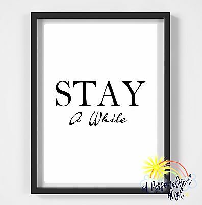 Inspirational Quote Poster Art Print A4 Typography Decor gift wall decor a while