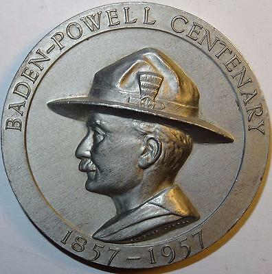 SCOUTING BADEN-POWELL CENTENARY 1857-1957 MEDALLION by PINCHES aluminium 50mm