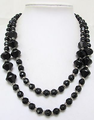 Long vintage silver metal & French jet bead necklace