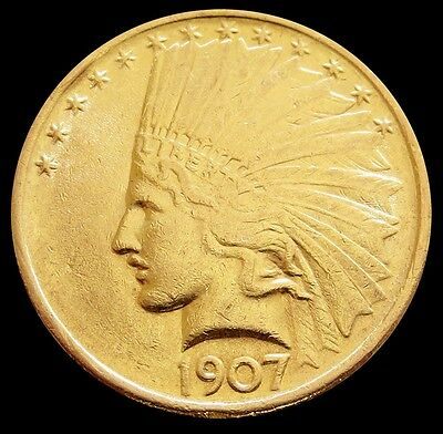 1907 Gold Us $ 10 Dollar Indian Head Eagle No Motto Coin About Unc Condition