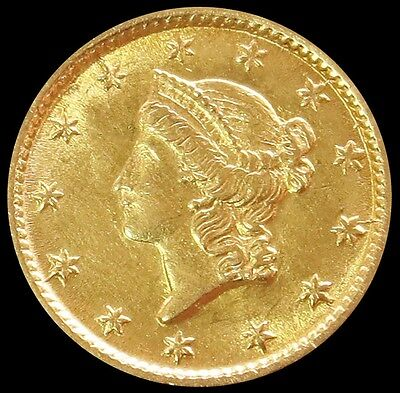 1854 Gold United States Liberty Head $ 1 Dollar Coin -Type 1 -Uncirculated