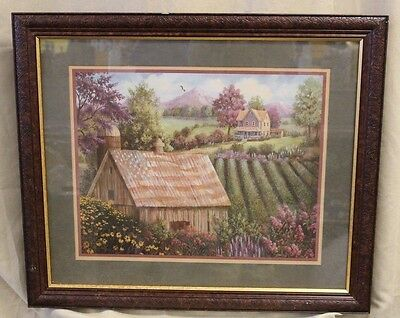HOMCO Home Interiors 24 x 28 Joan Cole Barn W/Flag Farm House Picture Country