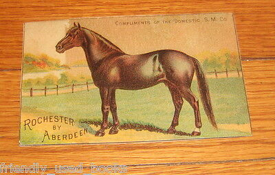 Domestic Sewing Machine racehorse Rochester by Aberdeen Victorian trade card