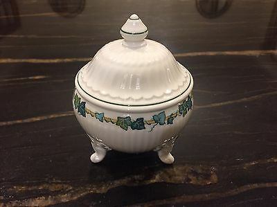 Villeroy And Boch Green Park Pattern Covered Sugar Bowl Ivy Leaves