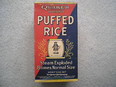 Quaker Puffed Rice Cereal Box - Unusual 1919
