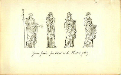 Grecian Females From Statues In Florentine Gallery Greek Roman Engraving