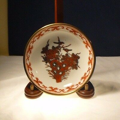 Vintage Japanese Porcelain Ware Bowl Decorated in Hong Kong Red Gold Decorative
