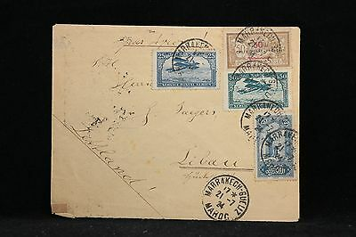 French Morocco: 1924 Cover to Latvia, 1 Overprinted Protectorate Stamp