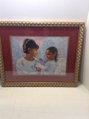 """HOME INTERIORS GIFTS 22"""" by 18"""" FRAMED MOTHER&DAUGHTER WITH ANGEL WINGS BY HAILS"""