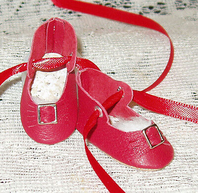 For Rosette~Handmade Leather Doll Shoes ~German Style~Red