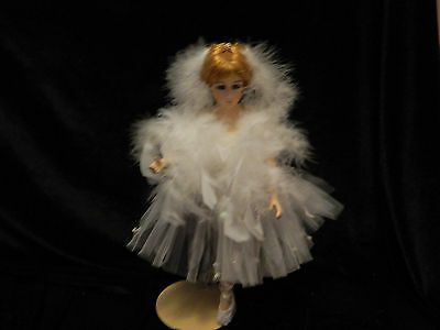 "14"" Porcelain Ballerina Doll "" Swan Lake "" Red Hair White Tulle and Feather Dres"
