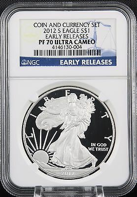 2012 S Silver Eagle Coin and Currency Set Proof NGC PF 70 Early Releases