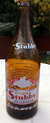 Extremely Rare Quart Size Amber Color ACL Webbs Stubby Beverages Soda Bottle