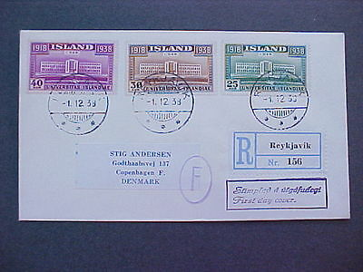 Iceland: 1938 12/01 #209-11 Registered First Day Cover to Denmark