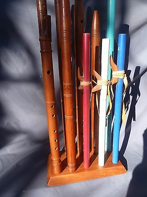 "Solid Cherry ""cluster"" flute stand...flute rack..holds 10 native american flutes"