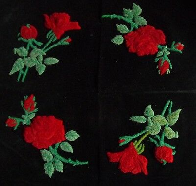 VTG 1920's Handmade Arts & Crafts Period Black Velvet Punch Embroidery RED ROSES