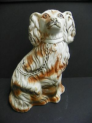 Vtg Chalkware Staffordshire Dog Figurine White And Red 10 1/2 In Tall
