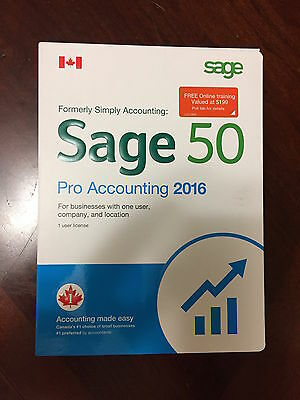 Sage 50 Pro Accounting 2016  (Canadian) Full Retail Box   1 USER