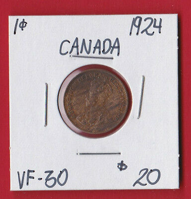 1924 Canada One Cent Coin 5710   - VF 30 Key Date   $20