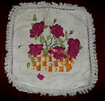 Antique VTG Silk Embroidered Pillow Top Cover BASKET of RED ROSES