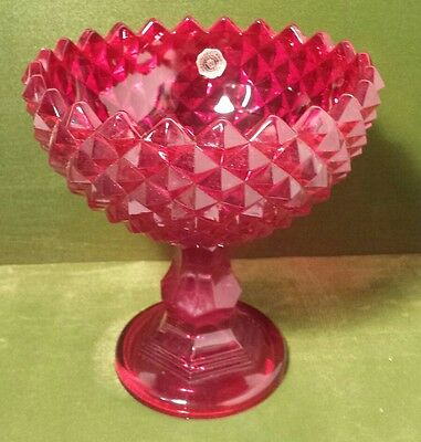Vintage Westmoreland Red Glass Footed Candy Dish Beautiful Sawtooth Pattern EUC