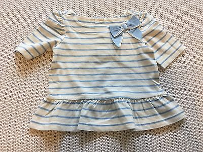 Nantucket Breeze Blue White Stripe Bow Peplum Top Shirt 12-18M NWT