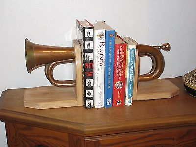 Handmade Bugle Bookends, Artistic-Music Theme, Great for Office, Den, Xmas