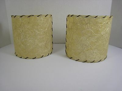 Vintage Pair of Fiberglass Whip Stitched 1/2  Lamp Sconce Shade