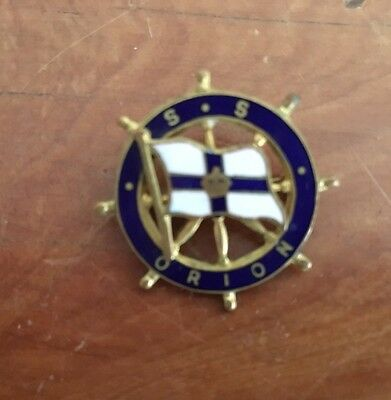1 x Vintage S S Orion Badge / Pin - Gold Metal and Enamel - Maritime