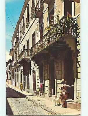 Unused Pre-1980 WOMAN WITH WHITE DOG ON SOL STREET San Juan Puerto Rico PR Q0585