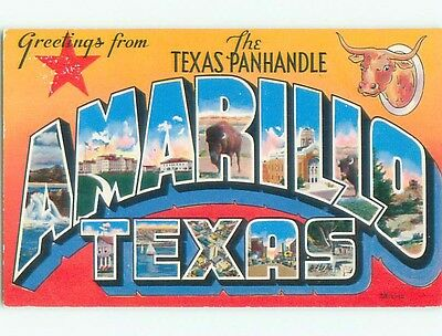 1955 Texas Panhandle Greeting - Big Large Letters Amarillo Texas TX Q2893